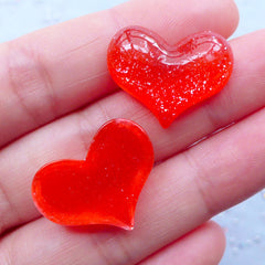 Glittery Puffy Heart Cabochons | Kawaii Phone Case Decoden | Shimmer Resin Cabochon | Wedding Table Scatter (3 pcs / Red / 22mm x 18mm / Flatback)