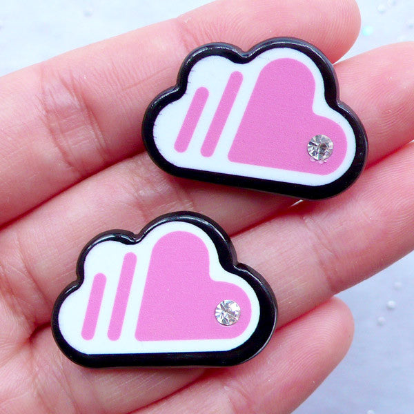 Cloud Acrylic Cabochon with Rhinestone | Scrapbook Supplies | Decoden Phone Case | Lapin Pin DIY | Brooch Making (2pcs / Pink / 29mm x 20mm / Flatback)