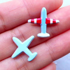 Small Airplane Cabochons | Acrylic Embellishments | Decoden Cabochon | Stud Earrings Making | Card Decoration (2pcs / 18mm x 17mm / Flatback)