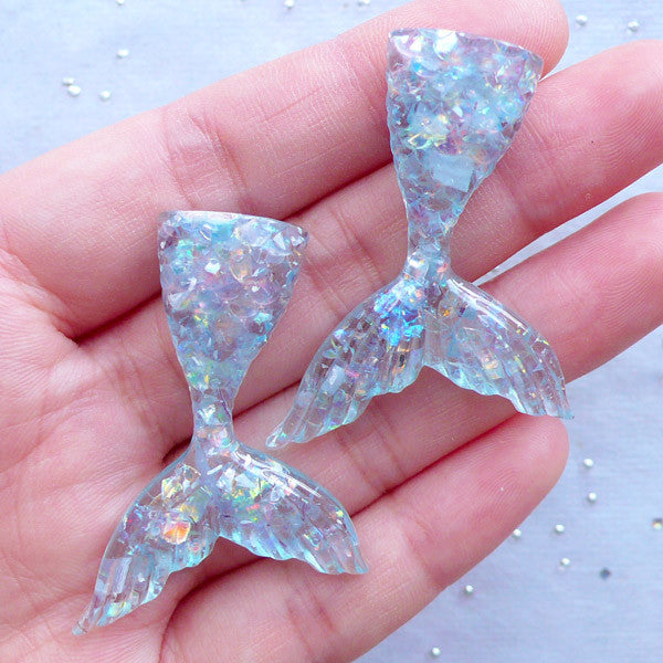 Iridescent Mermaid Tail Cabochons | Kawaii Resin Cabochon with Mica Flakes | Decoden Supplies | Mermaid Party Decoration (2pcs / Blue / 31mm x 44mm / Flatback)