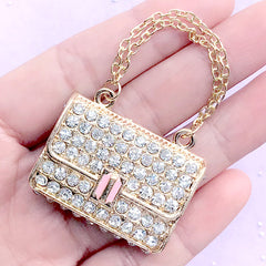 Rhinestone Handbag Purse Charm / Bling Bling Woman Pouch Cabochon (Gold / 36mm x 31mm) Doll Fashion Accessories Metal Decoden Piece CAB156