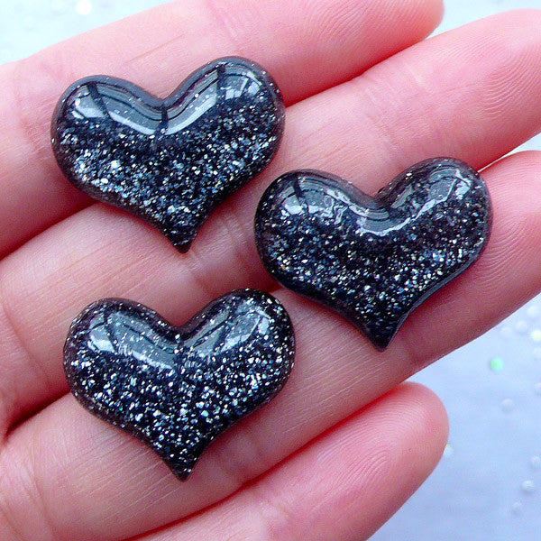 Puffy Heart Cabochons with Glitter | Decoden Cabochon | Resin Hearts | Kawaii Craft Supplies | Cell Phone Deco (3 pcs / Black / 22mm x 18mm / Flatback)