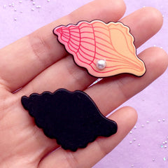 Acrylic Seashell Cabochon with Pearl | Conch Shell Embellishments | Kawaii Decoden | Mermaid Decoration (2pcs / 26mm x 43mm)