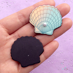 Scallop Shell Acrylic Cabochon with Pearl | Seashell Embellishments | Kawaii Mermaid Decoden | Beach Decor (2pcs / 35mm x 32mm)