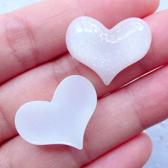 Heart Resin Cabochons with Glitter | Glittery Cabochon | Kawaii Heart Flatback | Decoden Supplies | Phone Decoration (3 pcs / White / 22mm x 18mm / Flatback)