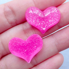Resin Heart Flatback with Glitter | Kawaii Cabochon Supplies | Glittery Decoden Pieces | Valentine's Day Decoration (3 pcs / Dark Pink / 22mm x 18mm / Flatback)