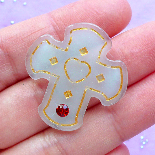 Kawaii Cross Cabochon with Rhinestone | Lolita Jewellery Supplies | Vintage Resin Cabochon | Religion Decoden Piece (1 piece / Mint Green / 29mm x 31mm)