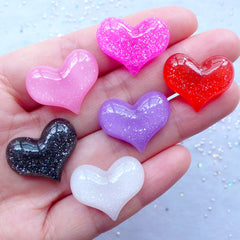 Shimmer Heart Cabochon Mix | Kawaii Embellishments | Resin Decoden Pieces | Phone Case Decoration | Scrapbooking (6 pcs / Assorted Colors / 22mm x 18mm / Flatback)