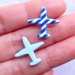 Small Aeroplane Cabochons | Airplane Acrylic Cabochon | Decoden Pieces | Travel Embellishments | Scrapbooking (2pcs / 18mm x 17mm / Flatback)