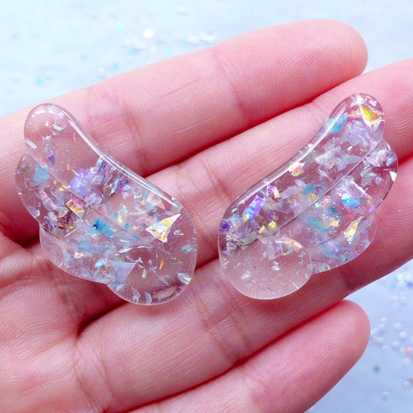 Clear Angel Wing Cabochons with Holographic Flakes | Kawaii Magical Girl Cabochons | Mahou Kei Decoden | Fairy Girl Jewelry (2pcs / Transparent / 18mm x 32mm / Flatback)