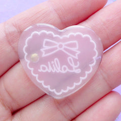 Lolita Heart Cabochon with Rhinestone | Kawaii Craft Supplies | Phone Case Decoden | Cute Embellishment (1 piece / Pink / 31mm x 27mm)