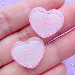 Be Mine Heart Cabochons | Wedding Embellishments | Kawaii Resin Cabochon | Decoden Supplies | Scrapbooking (2 pcs / Pink / 20mm x 17mm)
