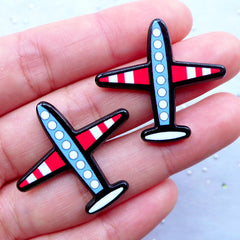 Airplane Cabochons | Aircraft Acrylic Cabochon | Aeroplane Embellishments | Decoden Supplies | Scrapbook (2pcs / 31mm x 29mm / Flatback)