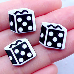 Dice Cabochons | Acrylic Decoden Cabochon | Casino Embellisments | Harajuku Kei Jewellery Making | Cell Phone Deco (3pcs / 14mm x 14mm / Flatback)