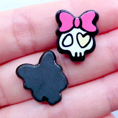 Acrylic Girl Skull Cabochons | Creepy Cute Halloween Decoden Supplies | Kawaii Harajuku Kei Cabochon | Cell Phone Deco (3pcs / 15mm x 17mm / Flatback)