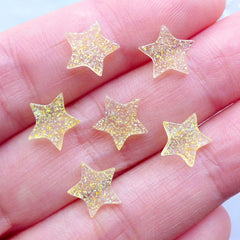 Clear Star Cabochons | Kawaii Cabochon | Glittery Resin Pieces | Decora Kei Decoden | Deco Case Supplies (6pcs / Transparent Yellow / 9mm x 8mm / Flatback)