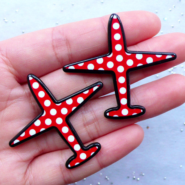 Kitsch Acrylic Cabochons | Airplane Flatback | Aeroplane Decor | Decoden Embellishment | Harajuku Clutch Pin Making (2pcs / 44mm x 41mm)
