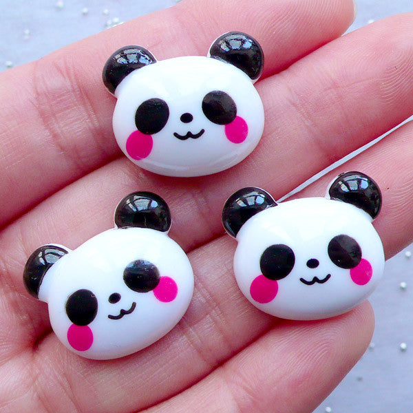 Cute Panda Cabochons | Animal Decoden Cabochon | Kawaii Phone Case Deco | Planner Paper Clip Making | Baby Hair Bow Centers (3 pcs / 20mm x 17mm / Flatback)