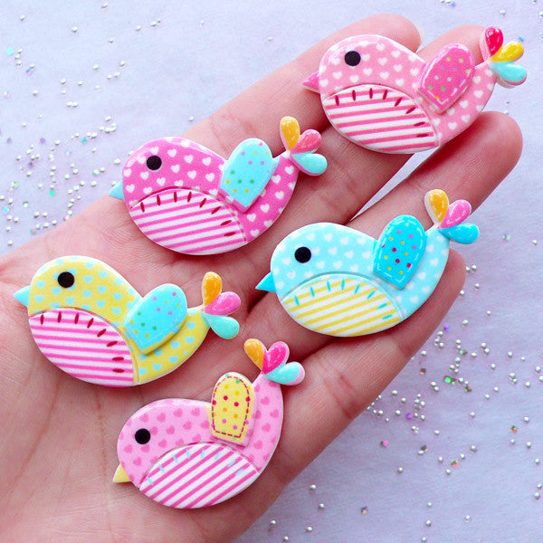 Cute Bird Cabochon Mix / Colorful Patchwork Spring Bird (5pcs / 42mm x 23mm / Flat Back) Kawaii Amimal Decoden Whimsical Scrapbooking CAB353
