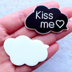 Kiss Me Cabochons | Cloud Speech Bubble Cabochon | Scrapbooking Embellishments | Kawaii Decoden Supplies (2pcs / Black / 44mm x 30mm / Flatback)