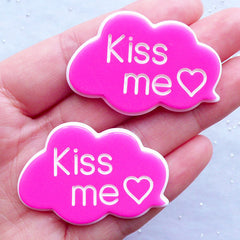 Decoden Phone Case Supplies | Kiss Me Message Cabochons | Cloud Speech Bubble Cabochon | Kawaii Embellishments (2pcs / Pink / 44mm x 30mm / Flatback)