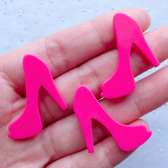 High Heel Cabochons | Lady Fashion Cabochon | Decoden Embellishments | Kawaii Phone Case Supplies | Resin Pieces (3pcs / Dark Pink / 29mm x 26mm / Flat Back)