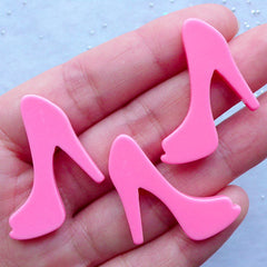 High Heel Shoe Cabochons | Woman Fashion Embellishments | Kawaii Cabochon | Decoden Phone Case | Resin Flatback (3pcs / Pink / 29mm x 26mm / Flat Back)
