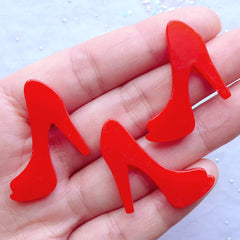Women High Heel Cabochons | Lady Shoes Embellishments | Phone Case Cabochon | Kitsch Jewelry Making | Kawaii Decoden (3pcs / Red / 29mm x 26mm / Flatback)