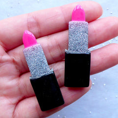 Glittery Lipstick Cabochons | Makeup Embellishments | Beauty Cabochon | Cosmetic Phone Case Decoden | Kitsch Jewelry Supplies (2pcs / Pink / 14mm x 46mm / Flatback)