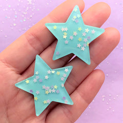 Kawaii Star Cabochons w/ Star Sequin Glitter Sprinkles Confetti (2pcs / 37mm x 37mm / Blue / Flat Back) Cute Decoration Scrapbooking CAB432