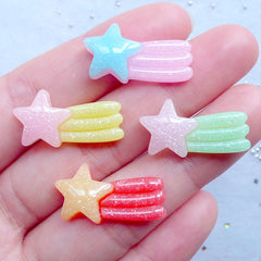 Glittery Falling Star Cabochons | Shooting Star Resin Flatback | Kawaii Cabochon | Decoden Supplies | Cute Jewelry Making (4 pcs / Assorted Mix / 12mm x 22mm)