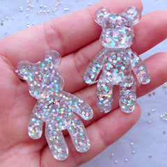 Holographic Bear Cabochons | Animal Decoden Cabochon | Kawaii Phone Case Deco | Resin Pieces (2pcs / Clear & Silver / 28mm x 44mm / Flatback)