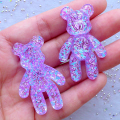 Glittery Resin Bear Cabochons | Kawaii Cabochon with Glitter | Animal Embellishments | Decoden Phone Case Supplies (2pcs / Clear & Purple / 28mm x 44mm / Flatback)