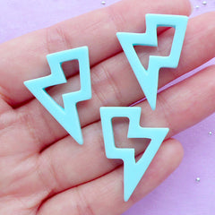 Lightning Bolt Cabochon | Kawaii Decoden Cabochons | Decora Kei Jewelry Making | Resin Embellishments (3pcs / Pastel Blue / 20mm x 27mm / Flat Back)