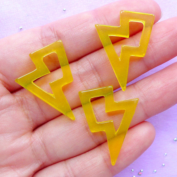 Kawaii Resin Cabochons | Lightning Bolt Cabochon | Decora Kei Decoden Supplies | Kitsch Jewellery Making (3pcs / Transparent Yellow / 20mm x 27mm / Flat Back)