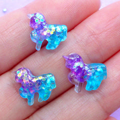 Mini Unicorn Cabochon in Galaxy Gradient | Glittery Resin Cabochons | Decoden Phone Case | Kawaii Craft Supplies (3pcs / Purple Aqua Blue / 11mm x 11mm / Flat Back)