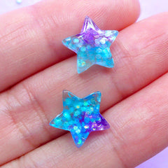 Galaxy Star Cabochons with Glitter | Tiny Decoden Cabochon | Kawaii Phone Case Decoration | Cute Jewelry Supplies (3pcs / Purple Aqua Blue / 12mm x 11mm / Flat Back)