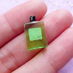 Dollhouse Miniature Eau de Parfum Cabochon | Doll House Perfume Bottle (Light Green / 10mm x 17mm)