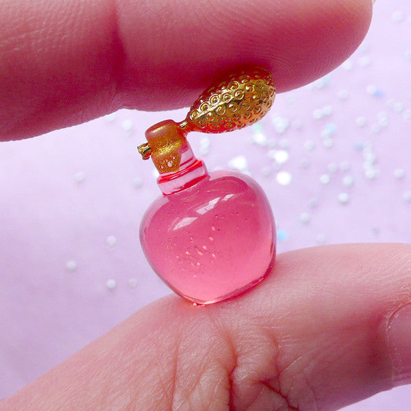 1:12 Scale Dollhouse Perfume Bottle Cabochon | Miniature Fragrance | Doll House Eau de Parfum Bottle (Red / 12mm x 17mm)