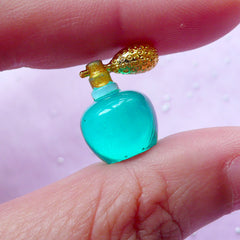 Miniature Antique Perfume Bottle | Dollhouse Vintage Eau de Parfum | 1:12 Scale Doll House Fragrance Cabochon (Green / 12mm x 17mm)