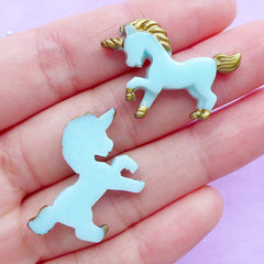 Cute Unicorn Cabochons | Small Decoden Cabochon | Kawaii Resin Pieces | Mahou Kei Jewelry Making | Magical Embellishments (2pcs / Blue / 28mm x 20mm / Flat Back)