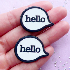 Acrylic Hello Cabochons | Message Decoden | Mixed Media Art (2pcs / 30mm x 23mm)