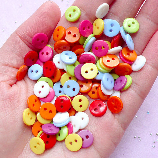 CLEARANCE 9mm Round Button in Assorted Colorful Mix | Scrapbooking & Sewing Supplies (100pcs)