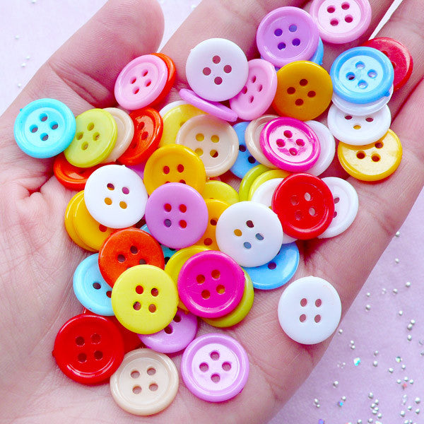 13mm Round Button in Assorted Color | Sewing & Scrapbooking Supplies (65pcs)