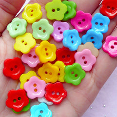 Assorted Flower Buttons | Sewing Supplies | Mixed Media Art (12mm / 65pcs / Colorful Mix)