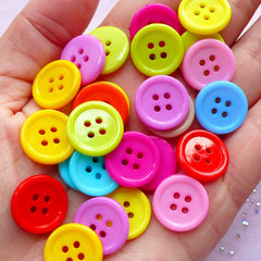 Assorted Round Buttons | Hair Bow Center | Mixed Media Art (15mm / 30pcs / Colorful Mix)