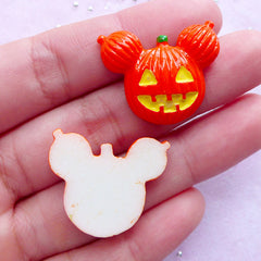 Halloween Pumpkin Lady Cabochons | Resin Decoden Pieces (2 pcs / 26mm x 21mm)