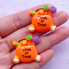 Halloween Candy Bowl Resin Cabochons | Trick or Treat Decoden Pieces (2 pcs / 27mm x 26mm)
