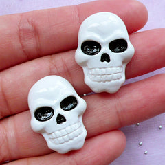 Decoden Skull Cabochons | Creepy Phone Case Decoration | Halloween Supplies (2 pcs / 19mm x 26mm)