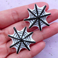 Spider Web Cabochons | Creepy Decoden Phone Case Deco | Halloween Party Decoration (2 pcs / 31mm x 31mm)